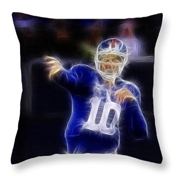 Eli Manning Throw Pillow by Paul Ward