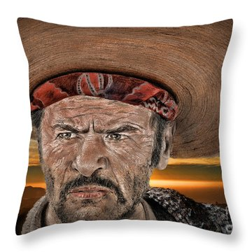 Eli Wallach As Tuco In The Good The Bad And The Ugly At Sunset Throw Pillow