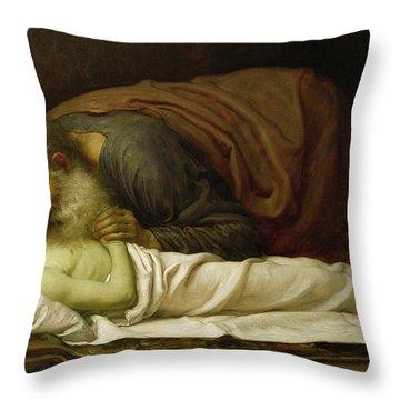 Elisha Raising The Son Of The Shunamite Throw Pillow by Frederic Leighton