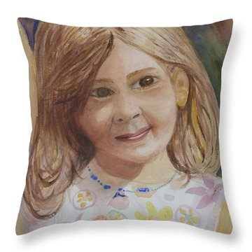 Throw Pillow featuring the painting Elizabeth by Donna Walsh