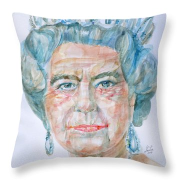 Throw Pillow featuring the painting Elizabeth II - Watercolor Portrait.2 by Fabrizio Cassetta