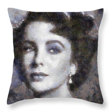 Elizabeth Taylor By Sarah Kirk Throw Pillow