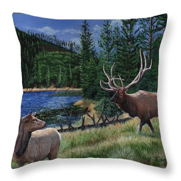Elk At Beaver Lake  Yellowstone Throw Pillow