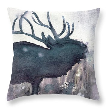 Throw Pillow featuring the painting Elk by Dawn Derman