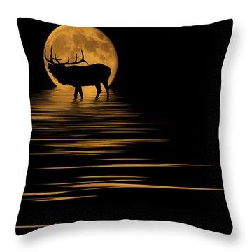Elk In The Moonlight Throw Pillow