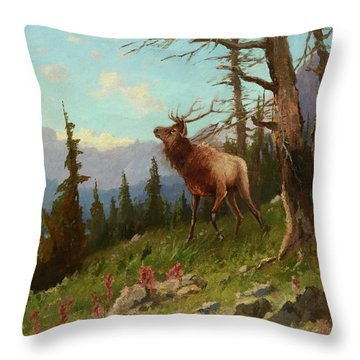 Elk In The Mountains Throw Pillow