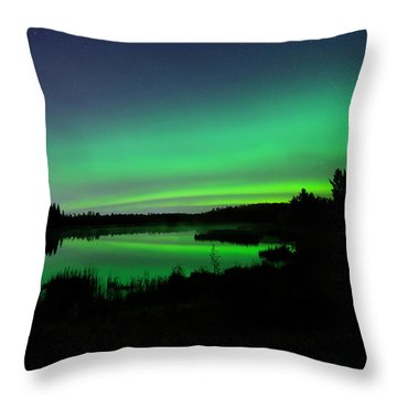 Elk Island Aurora Reflections Throw Pillow
