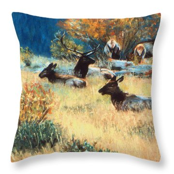 Elk Meadow Throw Pillow by Julie Maas