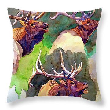 Elk Studies Throw Pillow