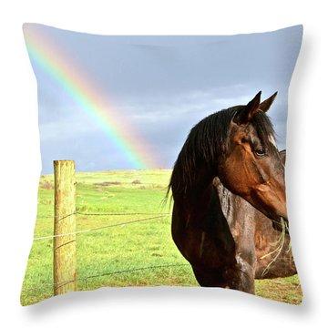 Ella And The Rainbows Throw Pillow
