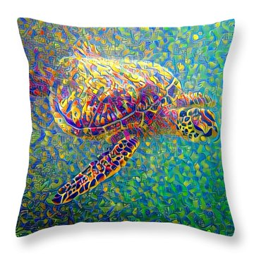 Throw Pillow featuring the digital art Ella The Turtle by Erika Swartzkopf