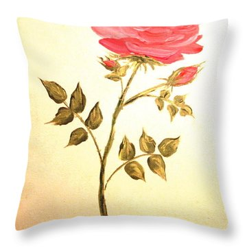 Ella's Rose Throw Pillow by Leea Baltes