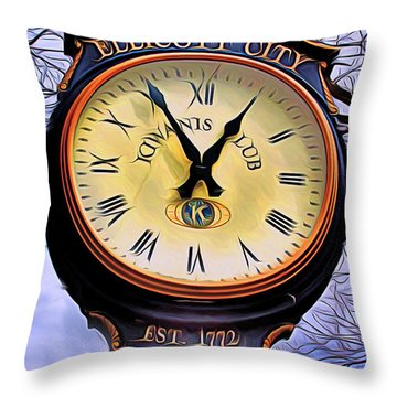 Ellicott City Clock Throw Pillow by Stephen Younts