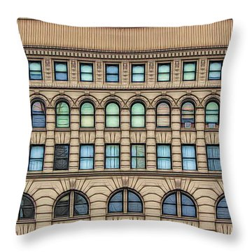 Throw Pillow featuring the photograph Ellicott Square Building Buffalo Ny Ink Sketch Effect by Rose Santuci-Sofranko