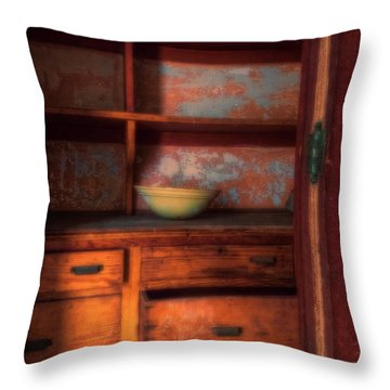 Throw Pillow featuring the photograph Ellis Island Cabinet by Tom Singleton