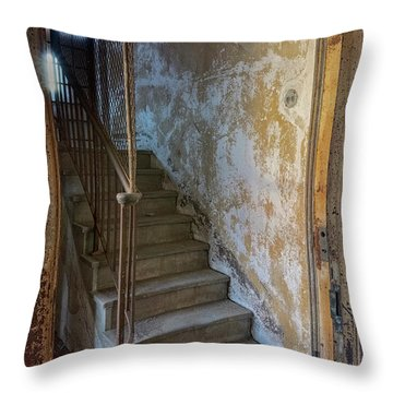 Throw Pillow featuring the photograph Ellis Island Stairs by Tom Singleton
