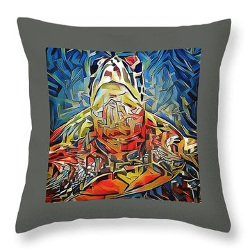 Throw Pillow featuring the digital art Ellis The Turtle by Erika Swartzkopf
