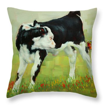 Elly The Calf And Friend Throw Pillow