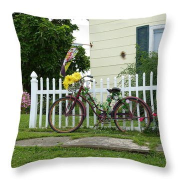 Elmer Bicycle Throw Pillow by Jana Russon