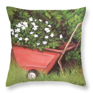 Throw Pillow featuring the painting Eloise's Garden Cart by Jeanette Jarmon