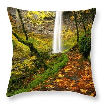 Elowah Autumn Trail Throw Pillow by Mike  Dawson