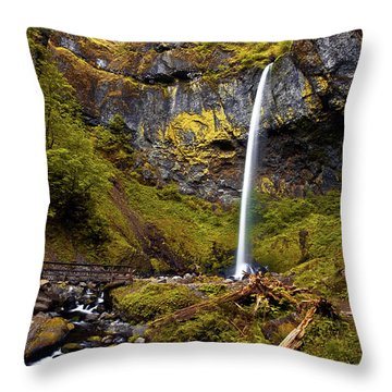 Elowah Falls Oregon Throw Pillow