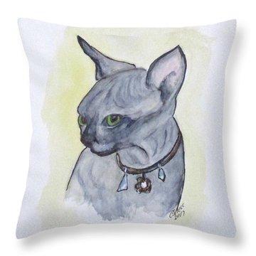 Else The Sphynx Kitten Throw Pillow
