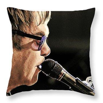 Elton John At The Mic Throw Pillow