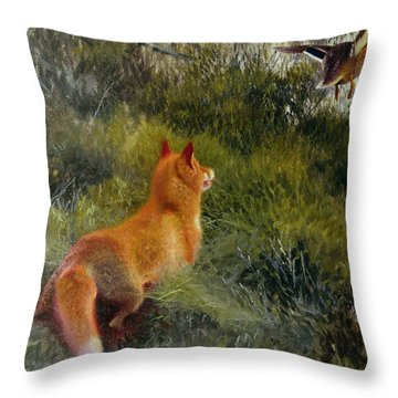 Eluding The Fox Throw Pillow by Bruno Andreas Liljefors