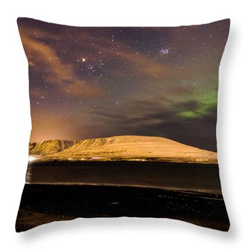 Elv Or Troll And Viking With A Sword In The Northern Light Throw Pillow