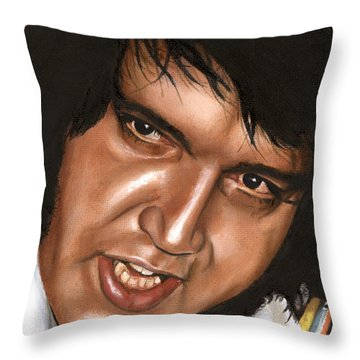 Elvis 24 1976 Throw Pillow by Rob De Vries
