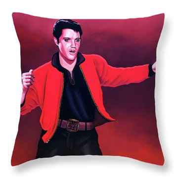 Elvis Presley 4 Painting Throw Pillow