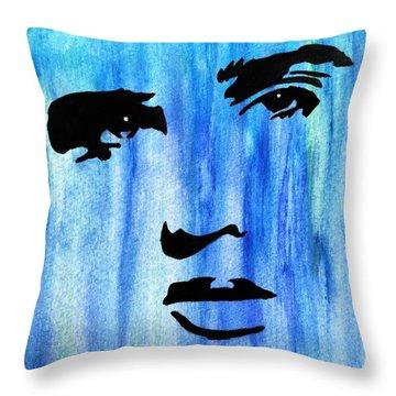 Elvis Presley Blue  Throw Pillow by Shawn Brandon