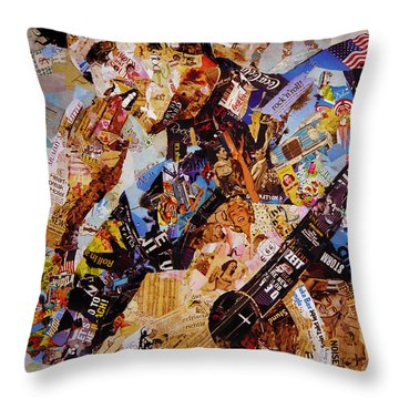 Elvis Presley Collage Art  Throw Pillow by Gull G
