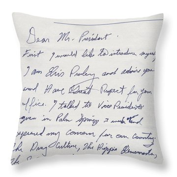 Elvis Presley Letter To President Richard Nixon Throw Pillow