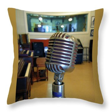 Throw Pillow featuring the photograph Elvis Presley Microphone by Mark Czerniec