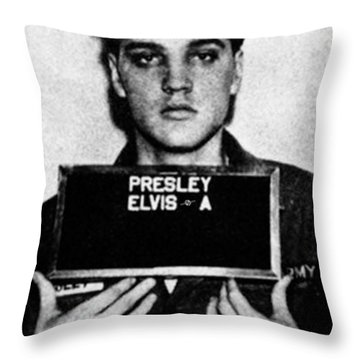 Elvis Presley Mug Shot Vertical 1 Throw Pillow by Tony Rubino