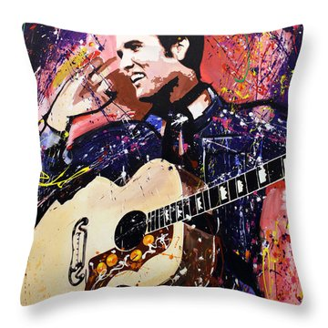Elvis Presley Throw Pillow by Richard Day
