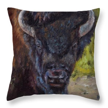 Elvis The Bison Throw Pillow