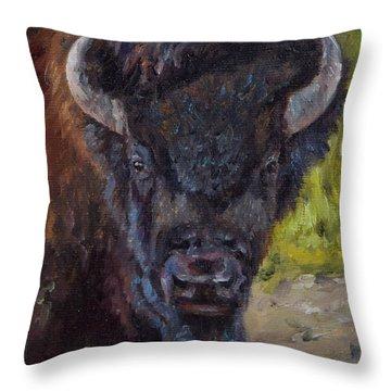 Elvis The Bison Throw Pillow by Lori Brackett