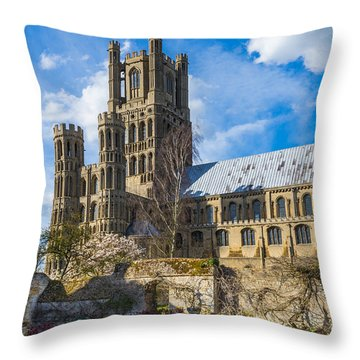 Ely Cathedral And Garden Throw Pillow