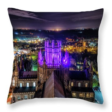 Ely Cathedral In Purple Throw Pillow