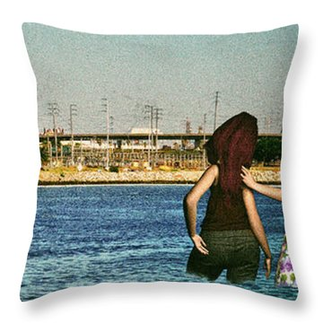 Knee Deep Looking At The Port Throw Pillow