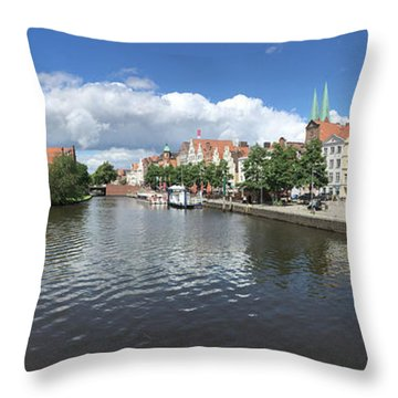 Embankment Of Trave In Luebeck Throw Pillow