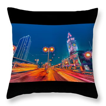 Throw Pillow featuring the photograph Embarcadero Lights by Steve Siri