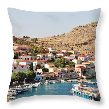 Emborio Village On Halki Throw Pillow