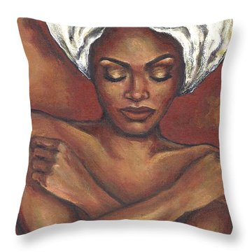 Throw Pillow featuring the painting Embrace Yourself by Alga Washington