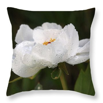 Embracing The Rain - White Tree Peony Throw Pillow by Gill Billington