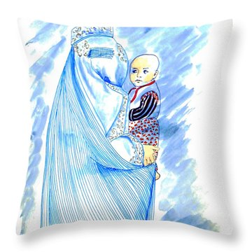 Embroidered Blue Lady-cage -- Woman In Burka Throw Pillow