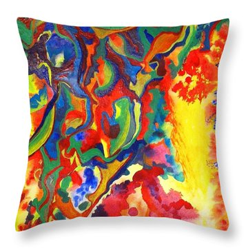 Throw Pillow featuring the painting Embroiled by Polly Castor